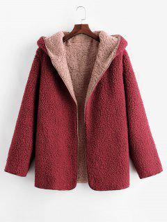 Manteau à Capuche Ouvert En Avant En Laine - Rose S
