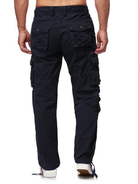 women Multi Flap Pockets Solid Long Straight Cargo Pants - CADETBLUE 38 Mobile