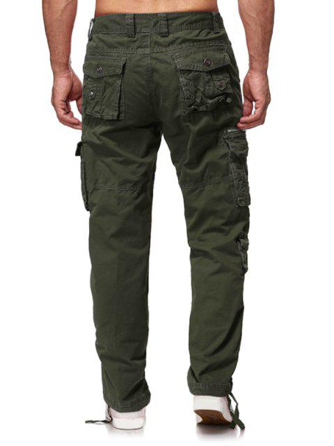 outfits Multi Flap Pockets Solid Long Straight Cargo Pants - ARMY GREEN 38 Mobile