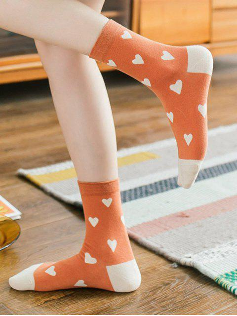 shop 5 Pairs Heart Print Colorblock Socks Set - MULTI-A  Mobile