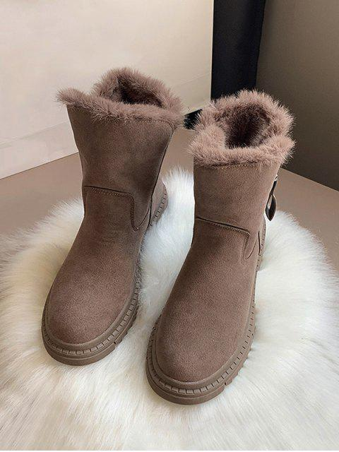 chic Fuzzy Trim Suede Chunky Heel Mid Calf Boots - BROWN EU 40 Mobile