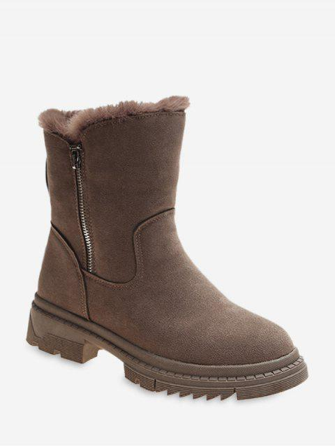 fancy Fuzzy Trim Suede Chunky Heel Mid Calf Boots - BROWN EU 35 Mobile