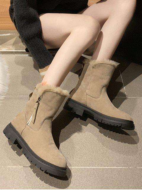online Fuzzy Trim Suede Chunky Heel Mid Calf Boots - LIGHT KHAKI EU 39 Mobile