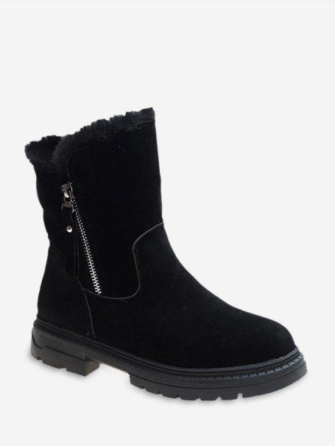 online Fuzzy Trim Suede Chunky Heel Mid Calf Boots - BLACK EU 39 Mobile