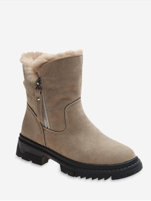 new Fuzzy Trim Suede Chunky Heel Mid Calf Boots - LIGHT KHAKI EU 36 Mobile