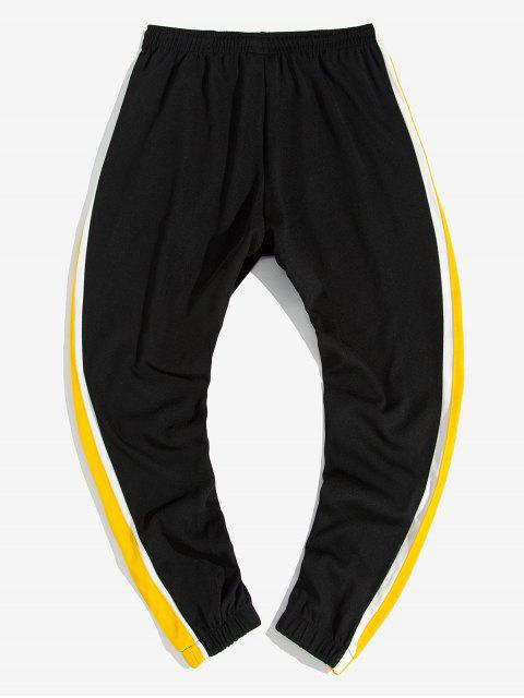 best Side Colorblock Spliced Letter Print Casual Jogger Pants - YELLOW L Mobile