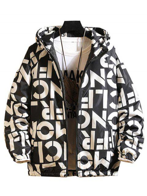 new Letter Graphic Print Raglan Sleeve Hooded Quilted Jacket - BLACK M Mobile