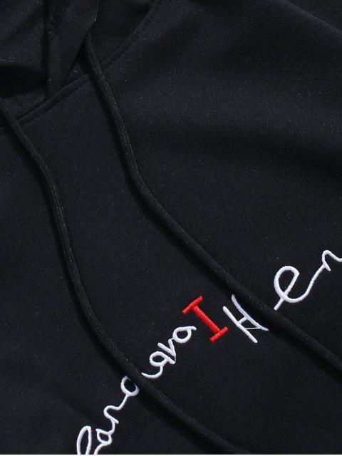 Sudadera con capucha del bordado del hombro Carta gota gráfico - Negro L Mobile