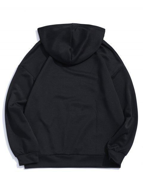Sudadera con capucha del bordado del hombro Carta gota gráfico - Negro XL Mobile