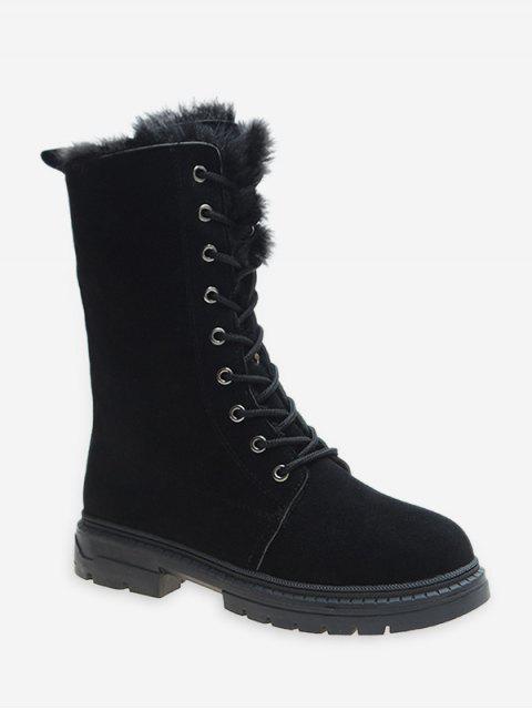 women Fuzzy Trim Lace Up Mid Calf Boots - BLACK EU 36 Mobile