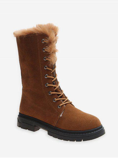online Fuzzy Trim Lace Up Mid Calf Boots - BROWN EU 35 Mobile