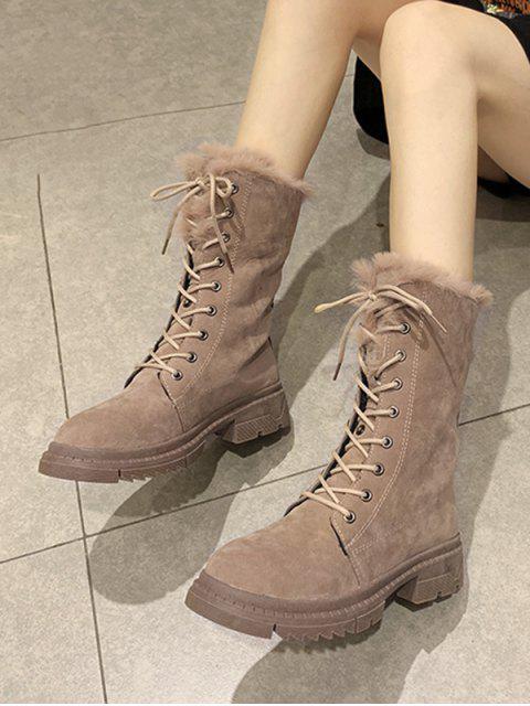 trendy Fuzzy Trim Lace Up Mid Calf Boots - LIGHT KHAKI EU 40 Mobile