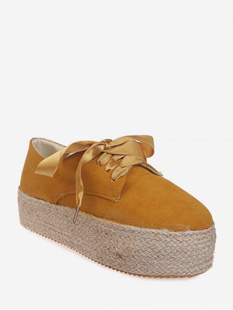 affordable Low Top Espadrille High Platform Shoes - YELLOW EU 43 Mobile