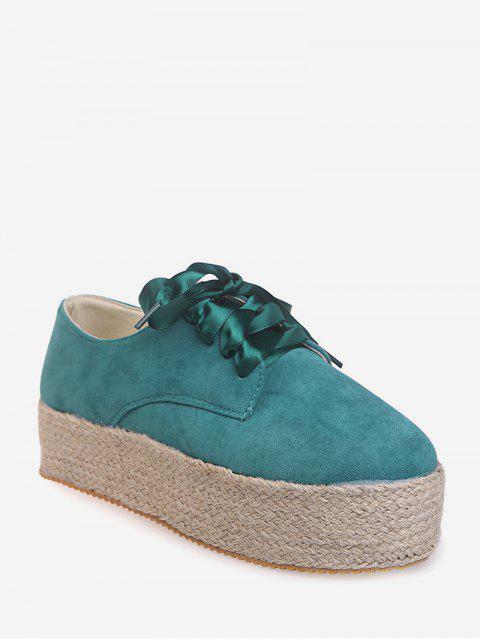 buy Low Top Espadrille High Platform Shoes - GREEN EU 39 Mobile