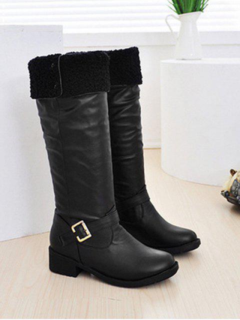 womens Ruched Chunky Heel Fleece Knee High Boots - BLACK EU 40 Mobile