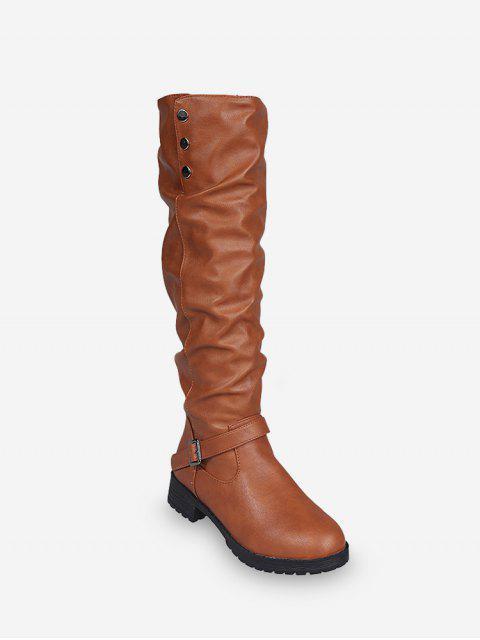 women Ruched Chunky Heel Fleece Knee High Boots - YELLOW EU 40 Mobile