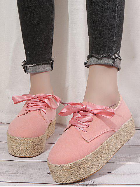 trendy Low Top Espadrille High Platform Shoes - PINK EU 42 Mobile