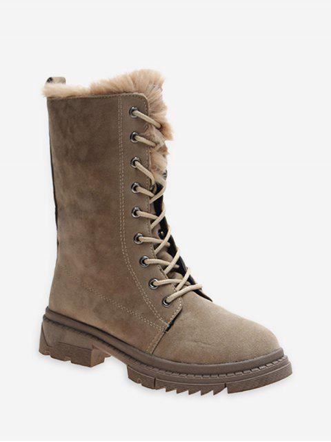 buy Fuzzy Trim Lace Up Mid Calf Boots - LIGHT KHAKI EU 37 Mobile