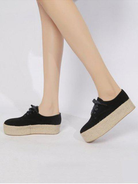 online Low Top Espadrille High Platform Shoes - BLACK EU 35 Mobile
