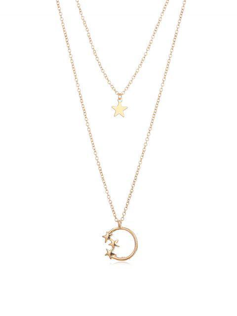 Звезда Многослойное Ожерелье - Золотой  Mobile