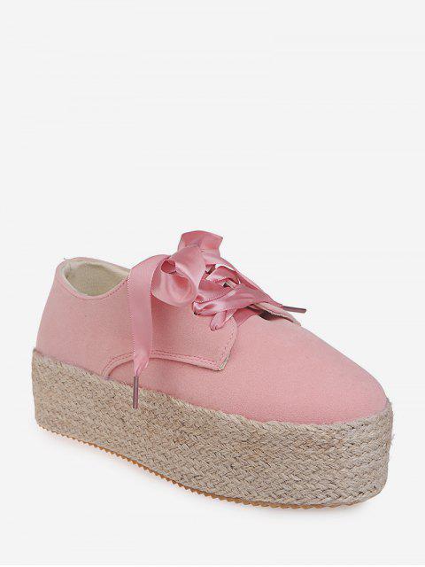 shop Low Top Espadrille High Platform Shoes - PINK EU 43 Mobile