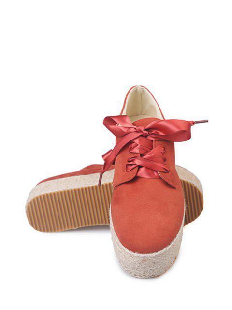 shops Low Top Espadrille High Platform Shoes - RED EU 37 Mobile