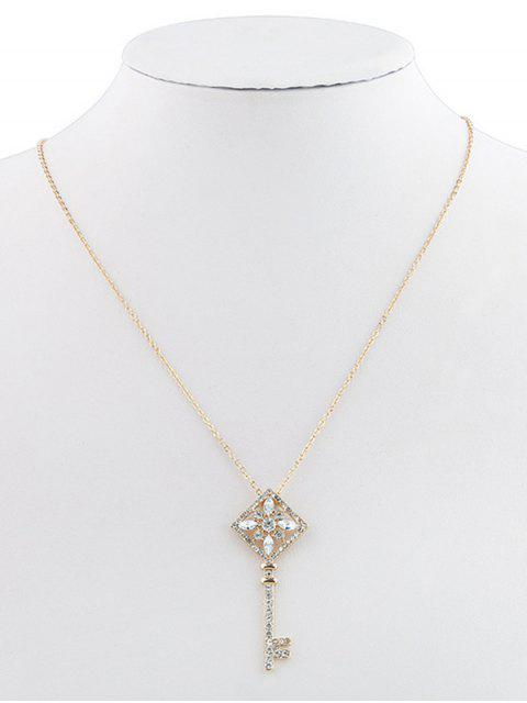 latest Rhinestone Key Pendant Chain Necklace - GOLD  Mobile