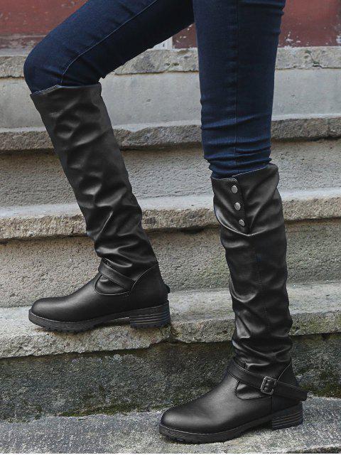 chic Ruched Chunky Heel Fleece Knee High Boots - BLACK EU 36 Mobile