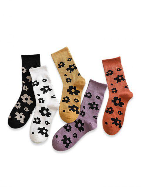 buy 5 Pairs Flower Print Crew Length Socks Set - MULTI-A  Mobile