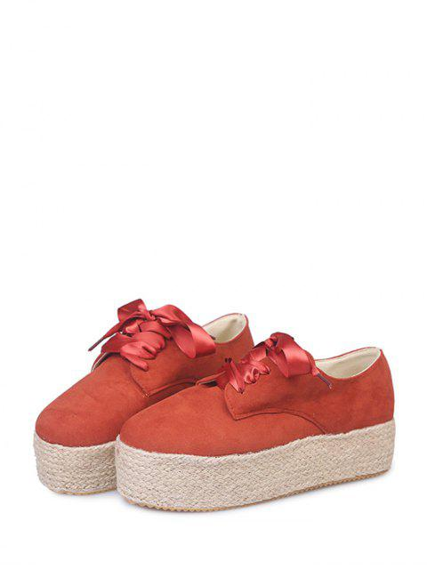 womens Low Top Espadrille High Platform Shoes - RED EU 36 Mobile