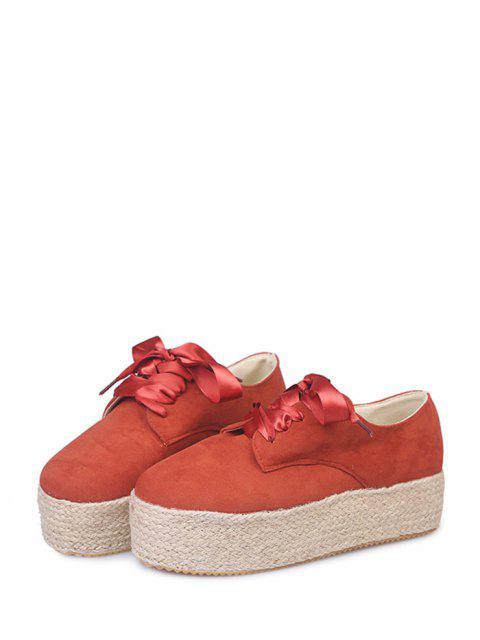 lady Low Top Espadrille High Platform Shoes - RED EU 41 Mobile