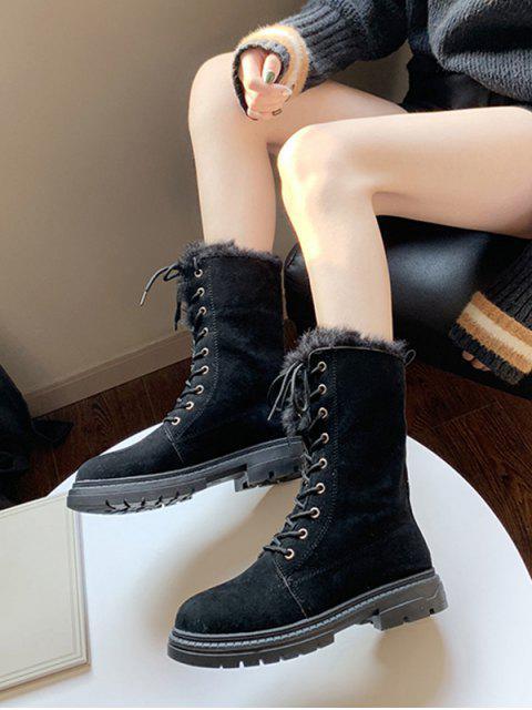 shops Fuzzy Trim Lace Up Mid Calf Boots - BLACK EU 35 Mobile