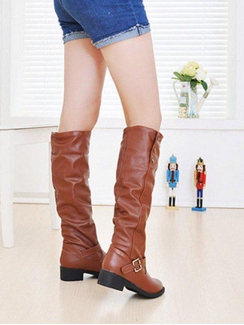 women Ruched Chunky Heel Fleece Knee High Boots - YELLOW EU 37 Mobile