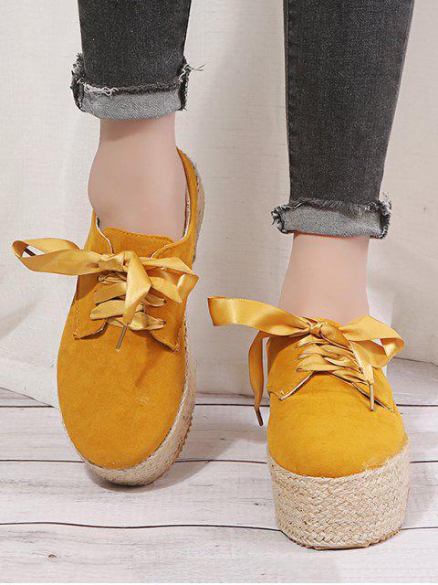 ladies Low Top Espadrille High Platform Shoes - YELLOW EU 36 Mobile