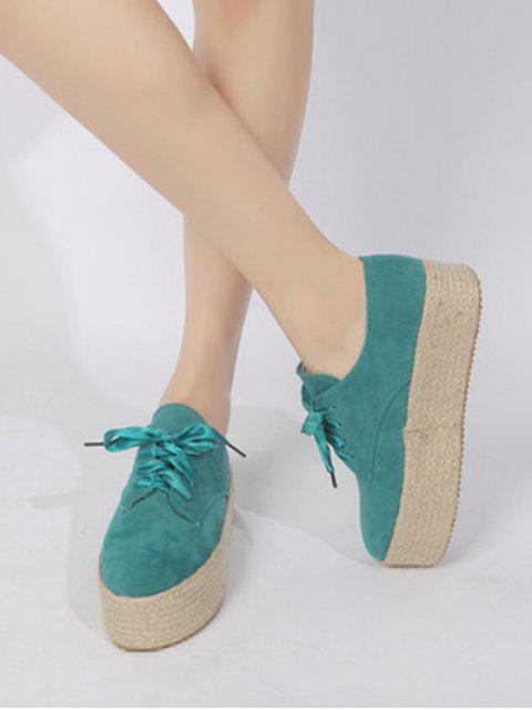 online Low Top Espadrille High Platform Shoes - GREEN EU 37 Mobile