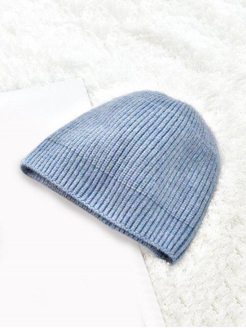 shops Winter Solid Knitted Skullcap Hat - BLUE GRAY  Mobile