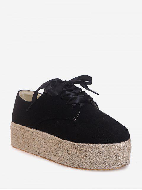 fashion Low Top Espadrille High Platform Shoes - BLACK EU 38 Mobile