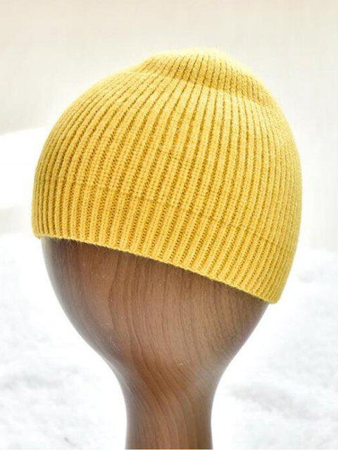 unique Winter Solid Knitted Skullcap Hat - YELLOW  Mobile