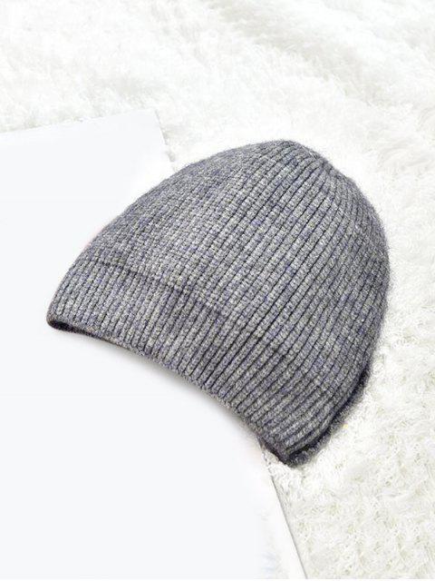 Chapeau d'Hiver Tricoté en Couleur Unie - Gris  Mobile
