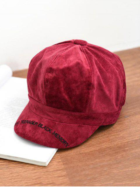 outfits Letter Embroidery Octagonal Velour Casual Peaked Hat - FIREBRICK  Mobile