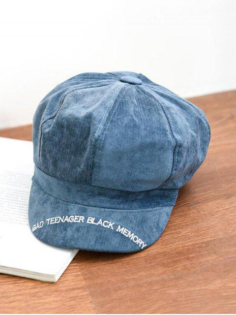 latest Letter Embroidery Octagonal Velour Casual Peaked Hat - BLUE  Mobile