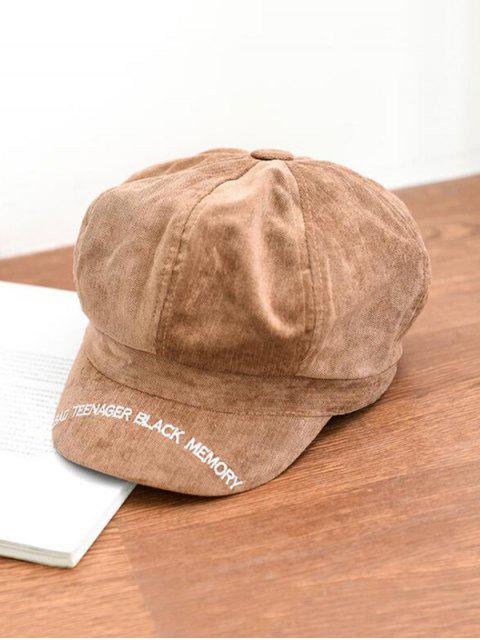 chic Letter Embroidery Octagonal Velour Casual Peaked Hat - KHAKI  Mobile
