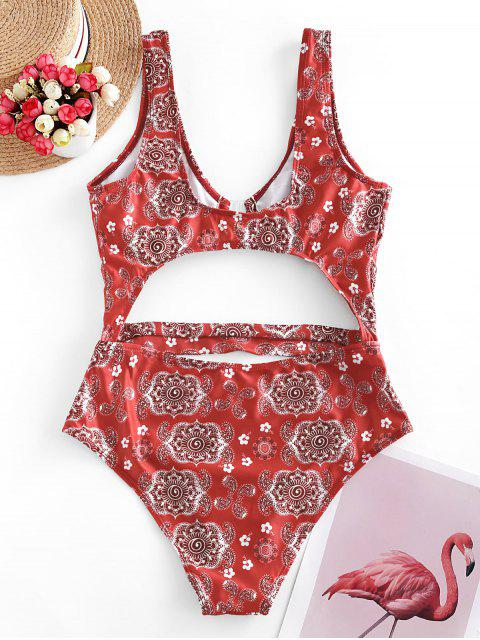 chic ZAFUL Front Closure Paisley Print Cut Out Swimsuit - BEAN RED M Mobile