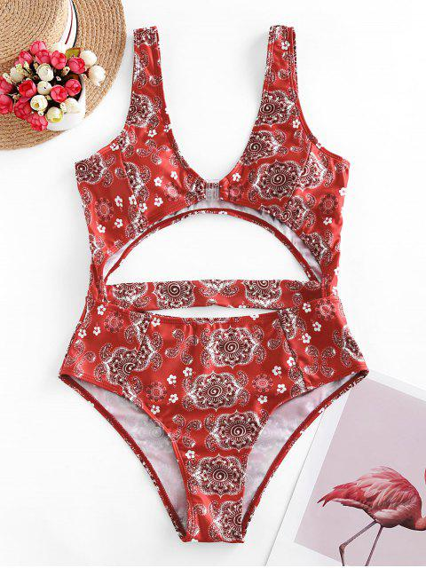 latest ZAFUL Front Closure Paisley Print Cut Out Swimsuit - BEAN RED S Mobile