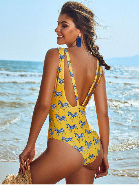 womens ZAFUL Zebra Print Open Back Plunging One-piece Swimsuit - BRIGHT YELLOW M Mobile