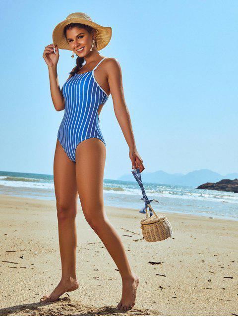 fashion ZAFUL Pinstriped Lace-up One-piece Swimsuit - OCEAN BLUE M Mobile