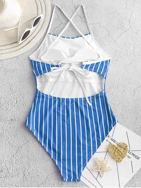 fancy ZAFUL Pinstriped Lace-up One-piece Swimsuit - OCEAN BLUE S Mobile