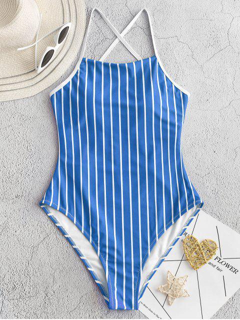 ZAFUL細條紋綁帶連體泳衣 - 海藍色 S Mobile