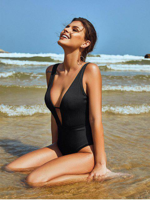 shops ZAFUL Plunge Textured Ribbed One-piece Swimsuit - BLACK S Mobile