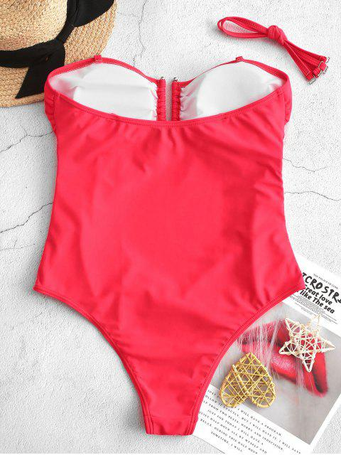 new ZAFUL Ruched V-wire One-piece High Cut Tube Swimsuit - RED M Mobile